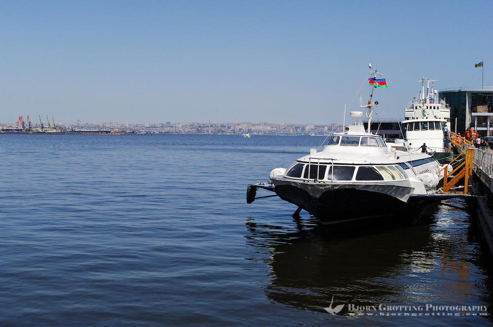 Azerbaijan, Baku. Baku Boulevard is a promenade that runs parallel to Baku's seafront. The yacht club.