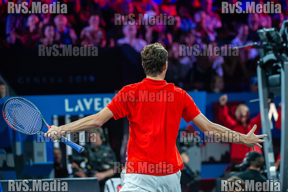 GENEVA, SWITZERLAND - SEPTEMBER 22: Taylor Fritz of Team World celebrates during Day 3 of the Laver Cup 2019 at Palexpo on September 20, 2019 in Geneva, Switzerland. The Laver Cup will see six players from the rest of the World competing against their counterparts from Europe. Team World is captained by John McEnroe and Team Europe is captained by Bjorn Borg. The tournament runs from September 20-22. (Photo by Robert Hradil/RvS.Media)