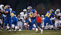 Kearsarge running back Oliver Gallo drives the ball downfield late in the fourth quarter during NHIAA Division V semi final matchup with Monadnock Saturday evening.  (Karen Bobotas/for the Concord Monitor)