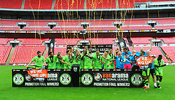 Forest Green Rovers players celebrates promotion to the football league - Mandatory by-line: Nizaam Jones/JMP - 14/05/2017 - FOOTBALL - Wembley Stadium- London, England - Forest Green Rovers v Tranmere Rovers - Vanarama National League Final