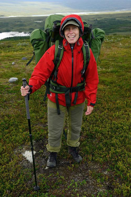 Tuula Rahikka on, family hiking trip on the Laponia Circuit, along the Padjelantaleden trail, Padjelanta National Park and Sarek National Park, Norrbotten, Lapland, Sweden.