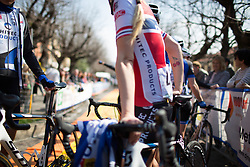 Miriam Bjørnsrud (Hitec Products Cycling Team) waits with her team mates to sign on for the Trofeo Alfredo Binda - a 123.3km road race from Gavirate to Cittiglio on March 20, 2016 in Varese, Italy.