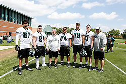 A Group Photo of the Defensive Linemen who attended the Philadelphia Eagles NFL football rookie camp at the teams practice facility on Saturday, May 17, 2014. (Photo by Brian Garfinkel)