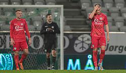 Frederik Juul Christensen (FC Helsingør) ærgrer sig efter Viborgs scoring til 1-0 under kampen i 1. Division mellem Viborg FF og FC Helsingør den 30. oktober 2020 på Energi Viborg Arena (Foto: Claus Birch).