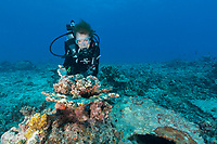 Sylvia poses with Reef in Seychelles