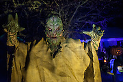 """Chris Baker is photographed in his haunted yard in South Yarmouth, MA. Every year Baker sets up an elaborate Halloween display in his yard and on Halloween, neighborohood residents walk through his frightening """"vortex"""" of horror while trick or treating."""