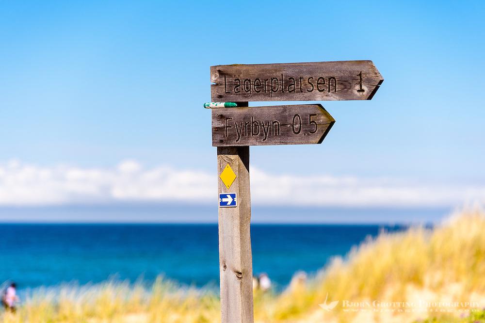 Sweden, Gotska Sandön national park. Sign on the north side.