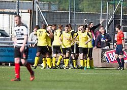 Edinburgh City's Douglas Gair cele scoring their goal. Edinburgh City became the first club to be promoted to Scottish League Two. East Stirling 0 v 1 Edinburgh City, League play-off game.
