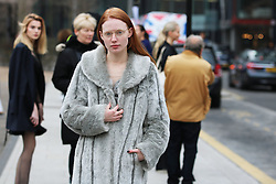 Emma Townsend arrives at the Fashion East Autumn / Winter 2017 London Fashion Week show at Tate Modern, London on Saturday February 18, 2017