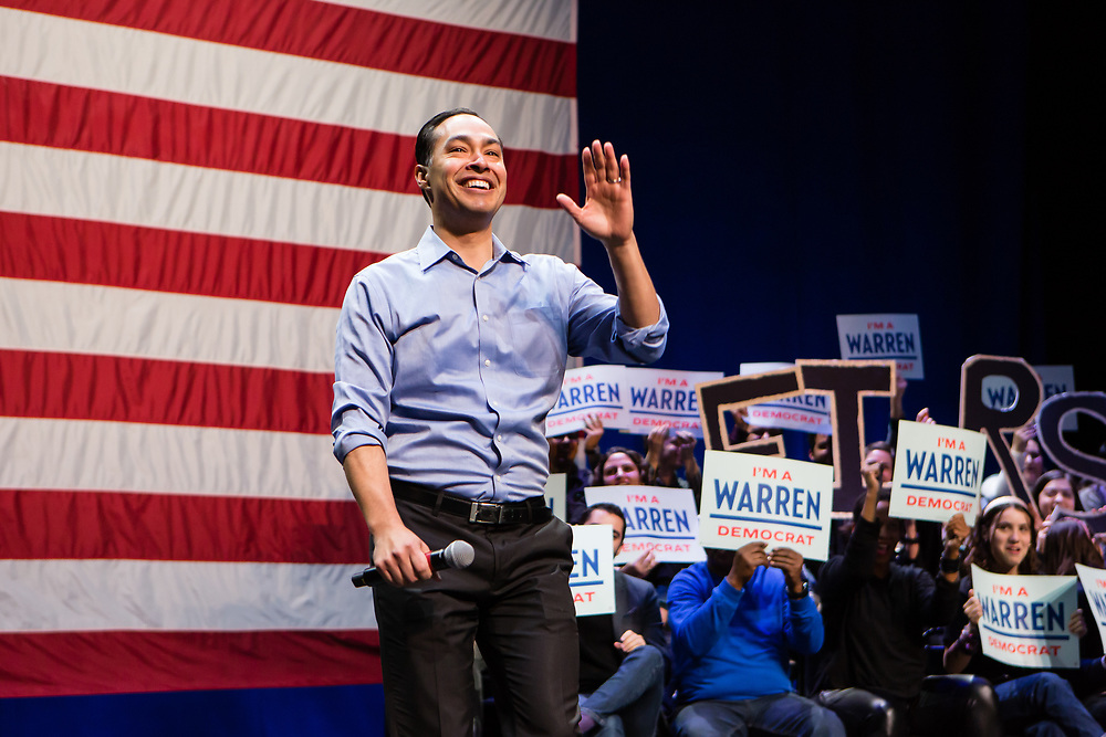 Brooklyn, NY - 7 January 2020. Massachusetts Senator and Democratic Presidential candidate Elizabeth Warren, joined by former candidate Julián Castro, drew a large and enthusiastic crowd at a speech for her 2020 presidential campaign in Brooklyn's Kings Theatre. Castro received an enthusiastic response when he described his long-term working relationship with Warren.
