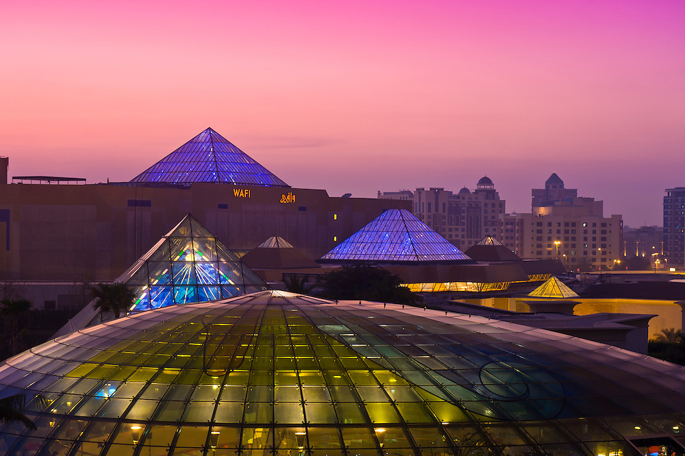 View from Raffles Dubai Hotel of the Wafi City Mall (an Egyptian themed shopping mall), Dubai, United Arab Emirates
