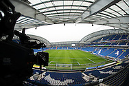 Television (TV) Camera overlooking the pitch before the EFL Sky Bet Championship match between Brighton and Hove Albion and Burton Albion at the American Express Community Stadium, Brighton and Hove, England on 11 February 2017.