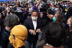 Sate Attorney General Keith Ellison speaks with Rep. Ilhan Omar and members of the United States Congressional Black Caucus as they visit the site of George Floyd's death, Thursday, June 4, 2020, in Minneapolis. Photo by Anthony Souffle/Minneapolis Star Tribune/TNS/ABACAPRESS.COM