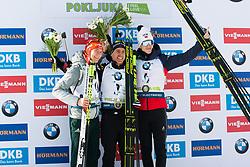Benedikt Doll (GER), Quentin Fillon Maillet (FRA), Johannes Thingnes Boe (NOR) at the podium ceremony after the Mass Start Men 15 km at day 4 of IBU Biathlon World Cup 2019/20 Pokljuka, on January 23, 2020 in Rudno polje, Pokljuka, Pokljuka, Slovenia. Photo by Peter Podobnik / Sportida