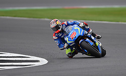 Suzuki's Maverick Vinales on his way to wining the 2016 Octo British Grand Prix at Silverstone, Northamptonshire.