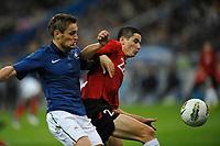 FOOTBALL - UEFA EURO 2012 - QUALIFYING - GROUP D - FRANCE v ALBANIA - 7/10/2011 - PHOTO GUY JEFFROY / DPPI - MATHIEU DEBUCHY (FRA) / ODISE ROSHI (ALB)