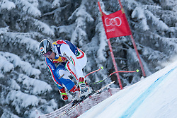 KITZBUHEL AUSTRIA. 22-01-2011. Peter Fill (ITA) speeds down the course competing in the 71st Hahnenkamm downhill race part of  Audi FIS World Cup races in Kitzbuhel Austria.  Mandatory credit: Mitchell Gunn
