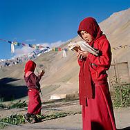 memorizing texts in Yangchen Choeling nunnery , Spiti