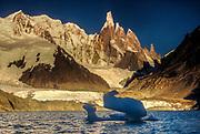 Cerro Torre, dawn from Lago Torre, Los Glaciares National Park, Patagonia, Argentina.