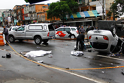 August 1, 2018 - CarapicuíBa, Brazil - CARAPICUÍBA, SP - 01.08.2018: ACIDENTE DEIXA 2 MORTOS NA GRANDE SP - A serious accident between a car and a motorcycle leaves 2 dead in Carapicuíba in Greater São Paulo. The car, driven by an army lieutenant who did not want to identify himself, hit a motorcycle in the opposite direction after knocking down a palm tree. The accident happened around 5:30 am on Wednesday (01) (Credit Image: © Aloisio Mauricio/Fotoarena via ZUMA Press)