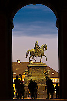 The King Johann monument seen from the Dresden Zwinger, Dresden, Saxony, Germany