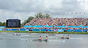 Eton Dorney, Windsor, Great Britain,..2012 London Olympic Regatta, Dorney Lake. Eton Rowing Centre, Berkshire.  Dorney Lake.  ..Men's Lightweight Doubles in the closing stages of the final with Denmark leading GB home. DEN LM2X, GBR LM2X and NZL LM2X...12:27:40  Saturday  04/08/2012 [Mandatory Credit: Peter Spurrier/Intersport Images]