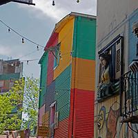 South America, Argentina, Buenos Aires. Colorful La Boca street.