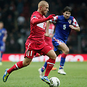 Turkey's Gokhan TORE during their UEFA EURO 2012 Play-off for Final Tournament First leg soccer match Turkey betwen Croatia at TT Arena in Istanbul Nüovember11, 2011. Photo by TURKPIX