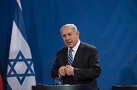 DEU, Deutschland, Germany, Berlin, 16.02.2016: Der israelische Ministerpräsident Benjamin Netanjahu bei einer Pressekonferenz nach den Deutsch-Israelischen Regierungskonsultationen im Bundeskanzleramt.