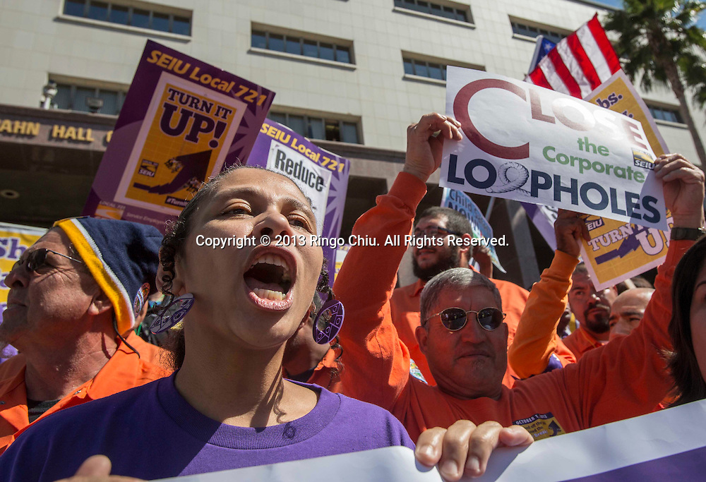 Thousands Los Angeles County workers protest in downtown Los Angeles, California, on Tuesday October 1, 2013, to push for what they say is a fair shake, while the county's chief executive said he was ready to offer a 6<br /> percent wage increase over three years.<br />  (Photo by Ringo Chiu/PHOTOFORMULA.com)