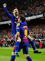 Marzo 6, 2018 - Barcelona, Barcelona, Spain...(10) Messi (delantero) y (09) Suárez (delantero) celebran el segundo gol del partido materializado por (10) Messi (delantero)...Partido de La Liga entre el FC Barcelona y el Real Madrid CF disputado en el Camp Nou.  El clásico ha finalizado con empate a 2. (Credit Image: © Joan Gosa/Xinhua via ZUMA Wire)