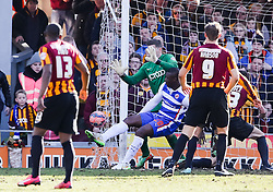 Reading's Yakubu Aiyegbeni in a goal mouth scramble with Bradford City's Ben Williams  - Photo mandatory by-line: Matt McNulty/JMP - Mobile: 07966 386802 - 07/03/2015 - SPORT - Football - Bradford - Valley Parade - Bradford City v Reading - FA Cup - Quarter Final