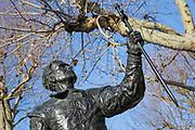 Laurence Olivier statue acting as Hamlet, created by the sculptor Angela Conner, on the South Bank on the 11th December 2018 in London in the United Kingdom.