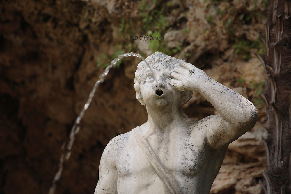 Trsteno, Croatia: fountain of Neptune in the garden of the Gucetic family summer house.  Fountain and sculpture date from 1736.  Male figure emitting water from his mouth.