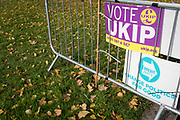 On the day that the UK was scheduled to leave the European Union and political parties commence campaigning for the General Election on December 12th, a UKIP Party placard is seen with Autumn leaves on College Green as Brexiters voice their anger outside the British parliament in Westminster, on 31st October 2019,