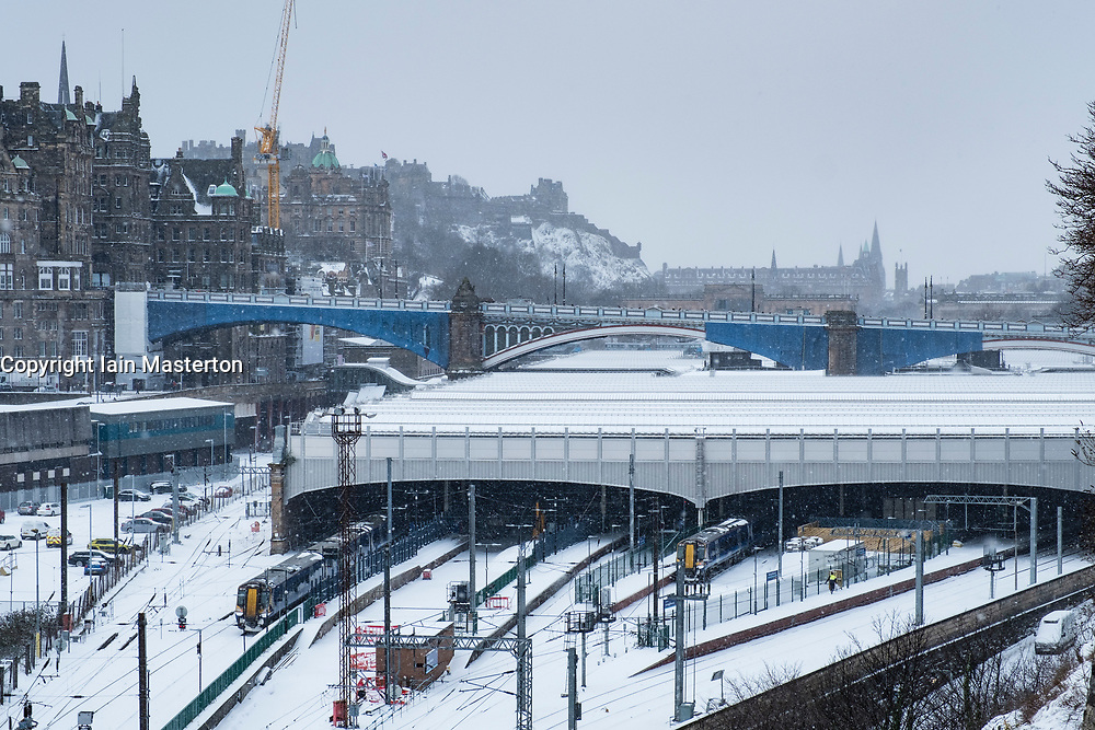 Edinburgh, Scotland, United Kingdom, 1 March, 2018. Heavy snowfalls continue across the city from the storm known as The Beast from the East. Most shops are closed and transport services have been cancelled. Pictured; Waverley Railway Station has seen most train services cancelled.