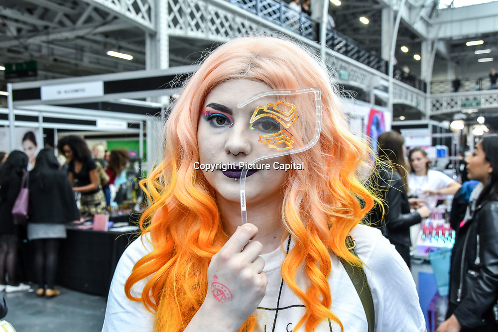 Lesley Jaggar - makeup artist - with face lace at IMATS London on 18 May 2019,  London, UK.