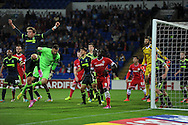 Cardiff city goalkeeper David Marshall (2nd left) gets in the box for a Cardiff corner in the last minute of injury time. Skybet football league championship match, Cardiff city v Middlesbrough at the Cardiff city stadium in Cardiff, South Wales on Tuesday 16th Sept 2014<br /> pic by Andrew Orchard, Andrew Orchard sports photography.