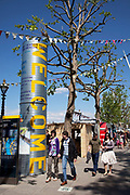 Spring community activities on The Southbank, London. Welcome sign to the Urban Seaside.