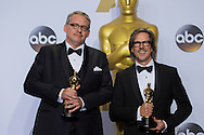 "88th Academy Awards press room.Best Adapted Screenplay winners Charles Randolph and Adam McKay for the film ""The Big Short."""