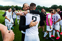 Ante Simundza head coach of NS Mura with Luka Bobicanec of NS Mura during final match of Slovenian footaball cup for season 2019/202 between team NK Nafta 1903 and NS Mura, Bro pri Kranju on 24 June 2020, Kranj, Slovenia. Photo by Grega Valancic / Sportida