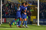 AFC Wimbledon Finlay Macnab (34) celebrating after scoring goal to make it 1-1 during the Pre-Season Friendly match between AFC Wimbledon and Crystal Palace at the Cherry Red Records Stadium, Kingston, England on 30 July 2019.