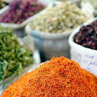 Damascus. Syria. Saffron and other spices for sale in the Souq al-Bzouriyya or spice market inside the Old City of Damascus. Damascus is the capital of Syria and one of the oldest continually inhabited cities in the world.