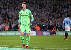 Chelsea goalkeeper Kepa Arrizabalaga (left) celebrates after saving Manchester City's Leroy Sane's shot in the penalty shoot out during the Carabao Cup Final at Wembley Stadium, London.