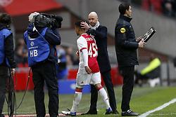 (L-R), Justin Kluivert of Ajax, Coach Erik ten Hag of Ajax during the Dutch Eredivisie match between Ajax Amsterdam and FC Twente Enschede at the Amsterdam Arena on February 11, 2018 in Amsterdam, The Netherlands