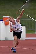 Germany's Arthur Abele won the javelin with a throw of 63.18 meters in the decathlon, at the Nike Combined Events Challenge at the R.V. Christian Track Complex on the campus of Kansas State University in Manhattan, Kansas, August 6, 2006.