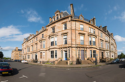 Elegant old apartment buildings on Park Terrace in west end of Glasgow , Scotland, United Kingdom