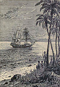 The Bounty Approaching the Shore HMS Bounty, also known as HM Armed Vessel Bounty, was a small merchant vessel that the Royal Navy purchased in 1787 for a botanical mission. The ship was sent to the South Pacific Ocean under the command of William Bligh to acquire breadfruit plants and transport them to the West Indies. That mission was never completed owing to a 1789 mutiny led by acting lieutenant Fletcher Christian, an incident now popularly known as the mutiny on the Bounty. The mutineers later burned Bounty while she was moored at Pitcairn Island.