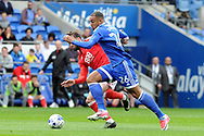 Cardiff's Kenneth Zohore (26) takes on Nottingham's Daniel Fox. EFL Skybet championship match, Cardiff city v Nottingham Forest at the Cardiff City Stadium in Cardiff, South Wales on Easter Monday 17th April 2017.<br /> pic by Carl Robertson, Andrew Orchard sports photography.