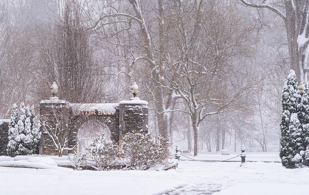 A historic Christmas Day snowfall blankets Ritter Park in Huntington, West Virginia with a fresh wintery coat.